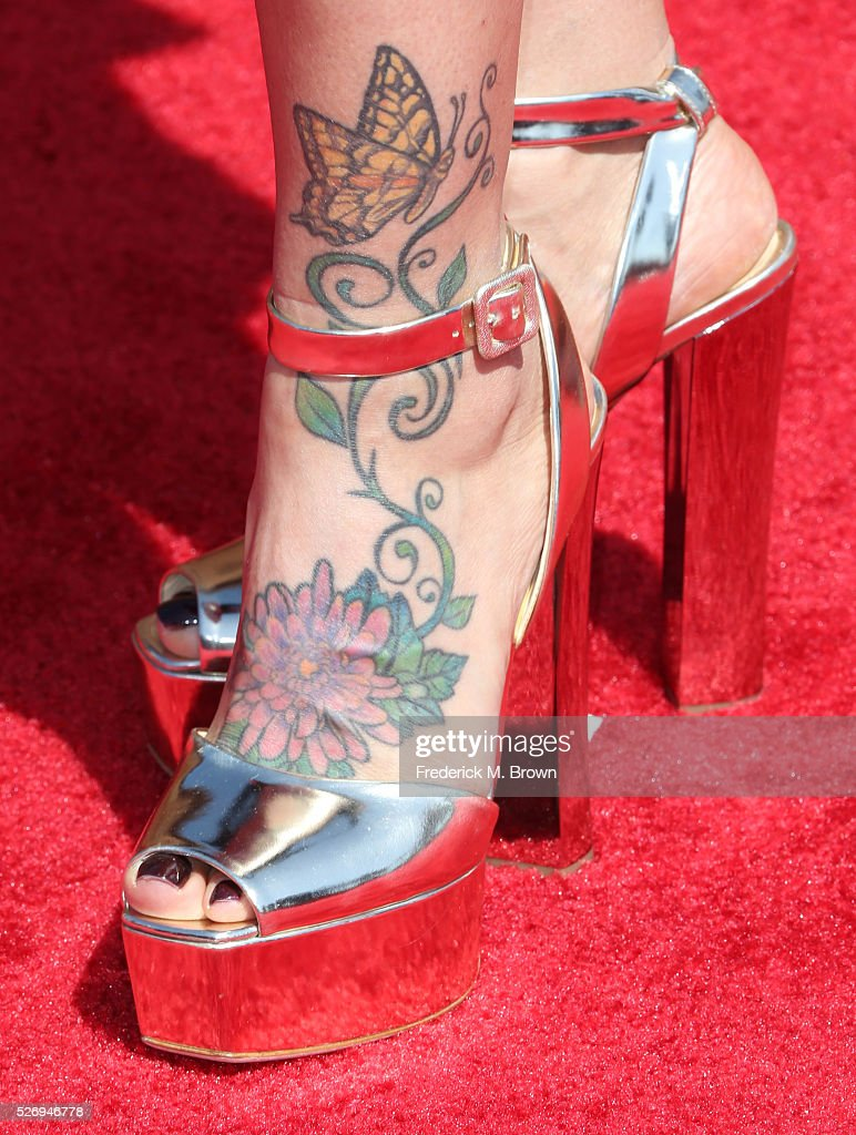 Rebecca King-Crews, shoe detail, attends the 2016 American Country Countdown Awards at The Forum on May 1, 2016 in Inglewood, California.