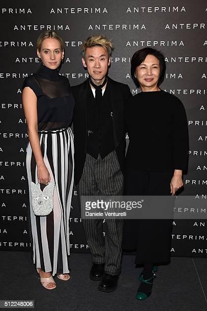 Rebecca Larsson Shinsuke Kawahara and designer Izumi Ogino attend the Anteprima show during Milan Fashion Week Fall/Winter 2016/17 on February 25...