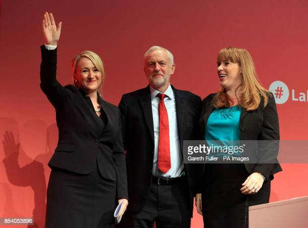 Rebecca LongBailey Shadow Secretary of State for Business Energy and Industrial Strategy with party leader Jeremy Corbyn and Angela Rayner Shadow...