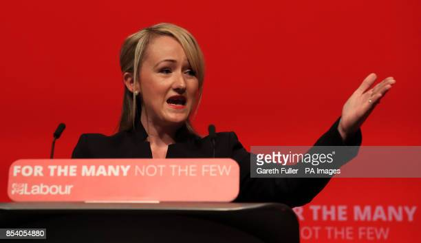 Rebecca LongBailey Shadow Secretary of State for Business Energy and Industrial Strategy addressing the Labour Party annual conference at the...