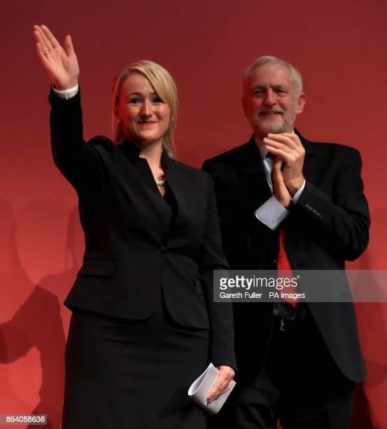 Rebecca LongBailey Shadow Secretary of State for Business Energy and Industrial Strategy with party leader Jeremy Corbyn after addressing the Labour...