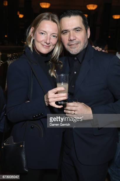 Rebecca Lowthorpe and Roland Mouret attend Roland Mouret's The Dinner of Love at Cecconi's a preopening dinner at The Ned on April 25 2017 in London...