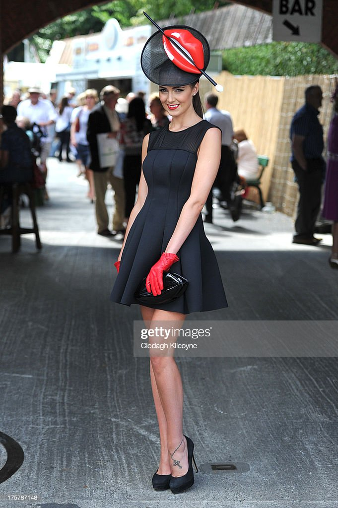 Rebecca Maguire who is current Miss Ireland takes part in ladies day at the Royal Dublin Society Dublin horse show at Royal Dublin Society on August 8, 2013 in Dublin, Ireland.