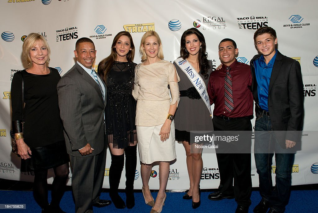 Rebecca Malek, Frank Sanchez Jr., Madison Kaplan, <a gi-track='captionPersonalityLinkClicked' href=/galleries/search?phrase=Kelly+Rutherford&family=editorial&specificpeople=217987 ng-click='$event.stopPropagation()'>Kelly Rutherford</a>, Miss New York Amanda Mason, Roman Maldonado and Jacob M Williams attend the Boys & Girls Clubs of America New York screening of 'The Stream' at Regal Union Square Theatre, Stadium 14 on October 15, 2013 in New York City.