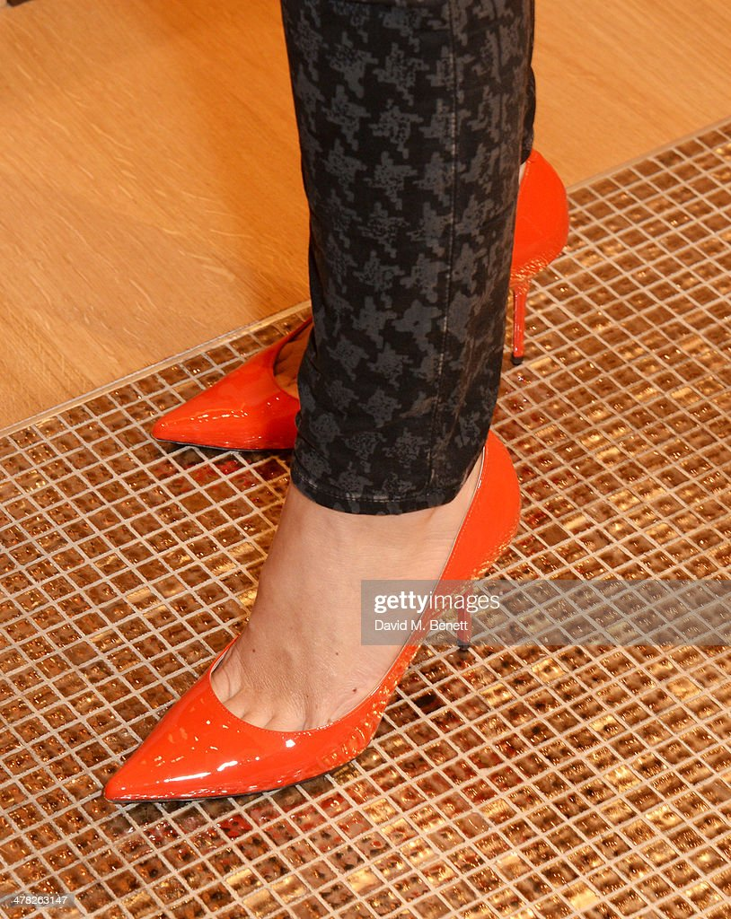 Rebecca Marks (shoe detail) attends the Moynat London boutique opening on March 12, 2014 in London, England.
