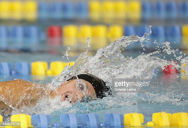 Rebecca Meyers competes in the women's 400m Freestyle MultiClass finals on day 1 of the 2016 US Paralympic Trials Swimming at Mecklenburg County...