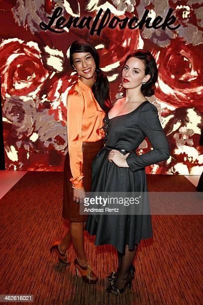 Rebecca Mir and Designer Lena Hoschek attend the Lena Hoschek show during MercedesBenz Fashion Week Autumn/Winter 2014/15 at Brandenburg Gate on...