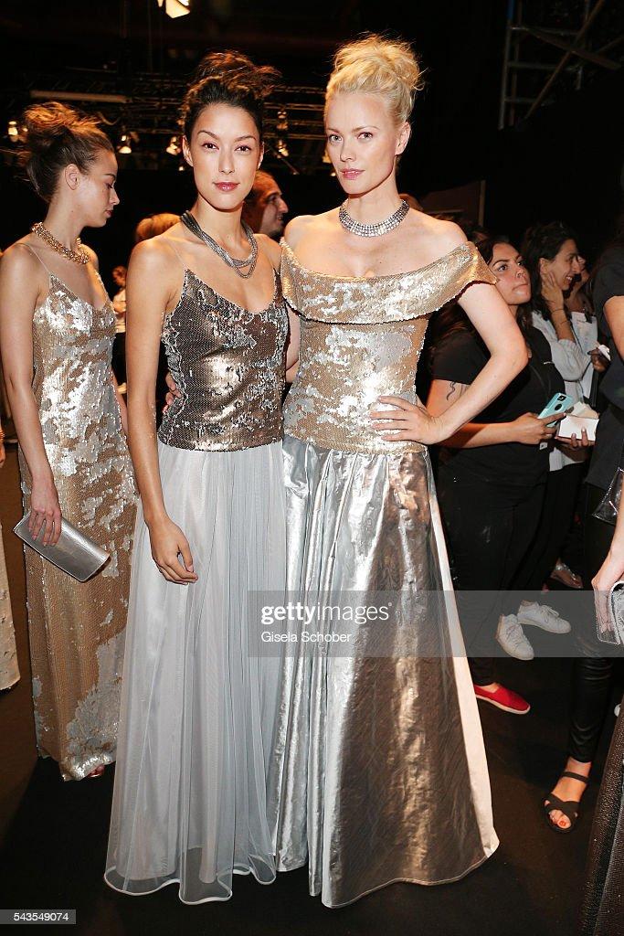 Rebecca Mir and Franziska Knuppe attend the Minx by Eva Lutz show during the MercedesBenz Fashion Week Berlin Spring/Summer 2017 at Erika Hess...