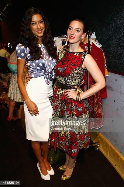 Rebecca Mir and Lena Hoschek attend the Lena Hoschek show during the MercedesBenz Fashion Week Spring/Summer 2015 at Erika Hess Eisstadion on July 8...
