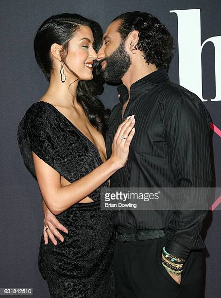 Rebecca Mir and Massimo Sinato attend the Maybelline Hot Trendsxhbition 2017 show during the MercedesBenz Fashion Week Berlin A/W 2017 at Motorenwerk...