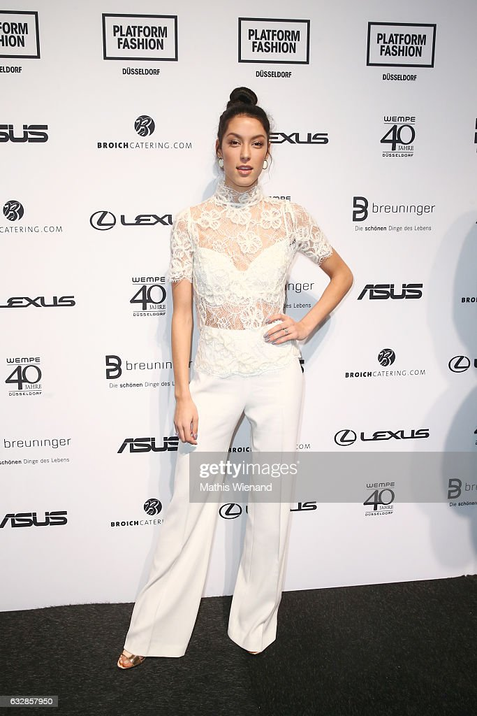 Rebecca Mir attends the Breuninger show during Platform Fashion January 2017 at Areal Boehler on January 27, 2017 in Duesseldorf, Germany.