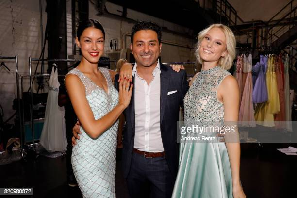 Rebecca Mir CEO of Unique Shahin Moghadam and Kim Hnizdo are seen backstage ahead of the Unique show during Platform Fashion July 2017 at Areal...