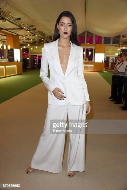 Rebecca Mir in a dress of Talbot Runhof during the world premiere of the horse show 'EQUILA' at Apassionata Showpalast Muenchen on November 5 2017 in...