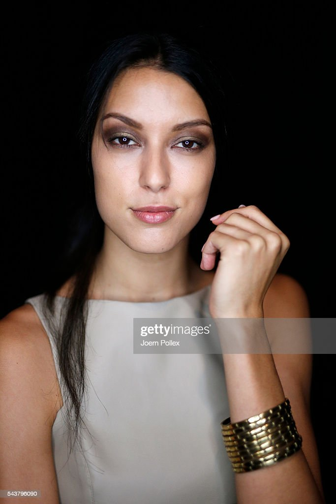 <a gi-track='captionPersonalityLinkClicked' href=/galleries/search?phrase=Rebecca+Mir&family=editorial&specificpeople=7831846 ng-click='$event.stopPropagation()'>Rebecca Mir</a> is seen backstage ahead of the Dimitri show during the Mercedes-Benz Fashion Week Berlin Spring/Summer 2017 at Erika Hess Eisstadion on June 30, 2016 in Berlin, Germany.