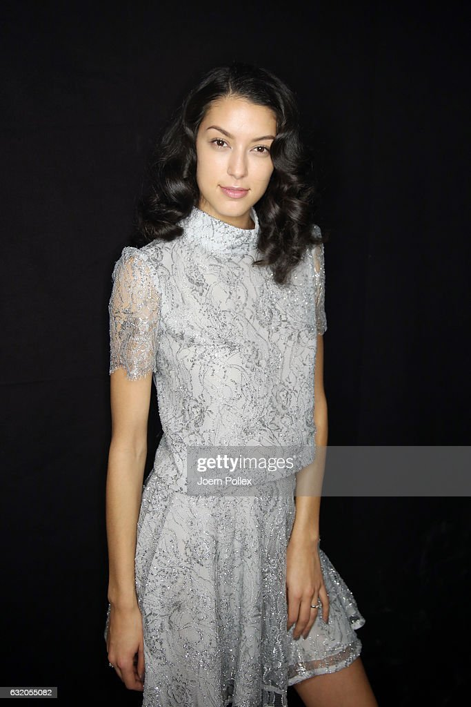 Rebecca Mir is seen backstage ahead of the Ewa Herzog show during the Mercedes-Benz Fashion Week Berlin A/W 2017 at Kaufhaus Jandorf on January 19, 2017 in Berlin, Germany.
