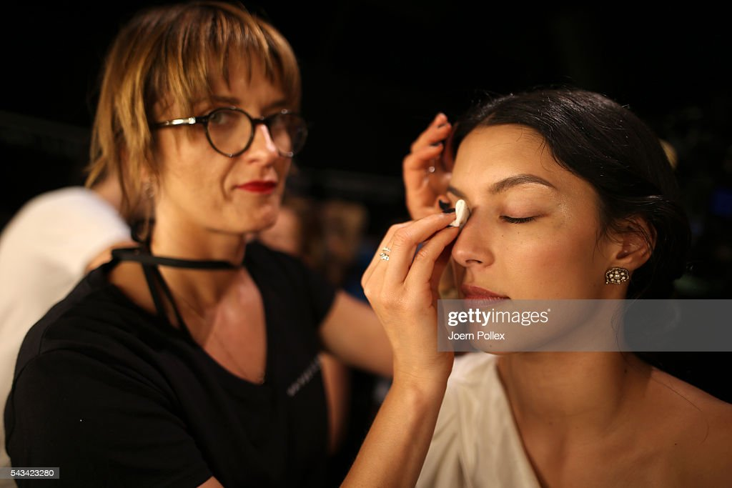 Rebecca Mir is seen backstage ahead of the Riani show during the Mercedes-Benz Fashion Week Berlin Spring/Summer 2017 at Erika Hess Eisstadion on June 28, 2016 in Berlin, Germany.