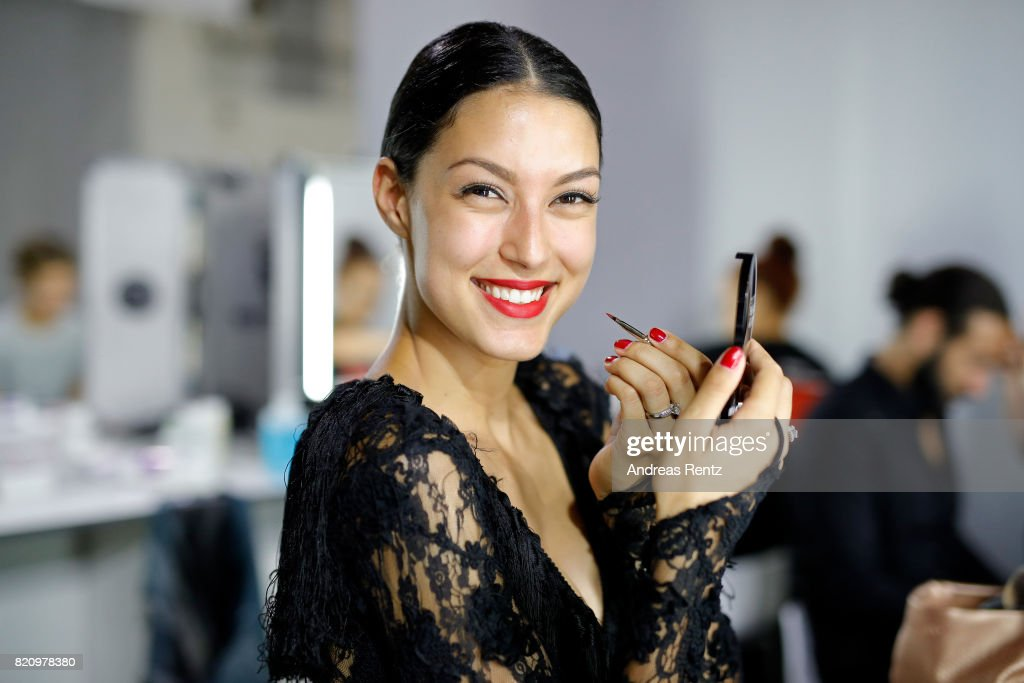 Rebecca Mir is seen backstage ahead of the Unique show during Platform Fashion July 2017 at Areal Boehler on July 22, 2017 in Duesseldorf, Germany.