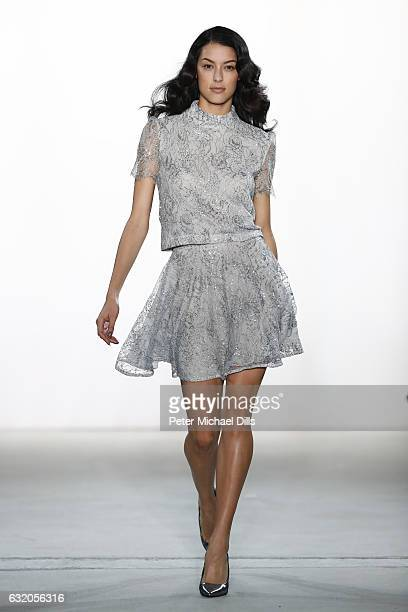 Rebecca Mir walks the runway at the Ewa Herzog show during the MercedesBenz Fashion Week Berlin A/W 2017 at Kaufhaus Jandorf on January 19 2017 in...