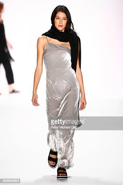 Rebecca Mir walks the runway at the Laurel show during the MercedesBenz Fashion Week Berlin Autumn/Winter 2016 at Brandenburg Gate on January 20 2016...
