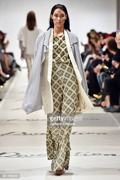 Rebecca Mir walks the runway at the Marcel Ostertag show during the MercedesBenz Fashion Week Berlin A/W 2017 at on January 18 2017 in Berlin Germany