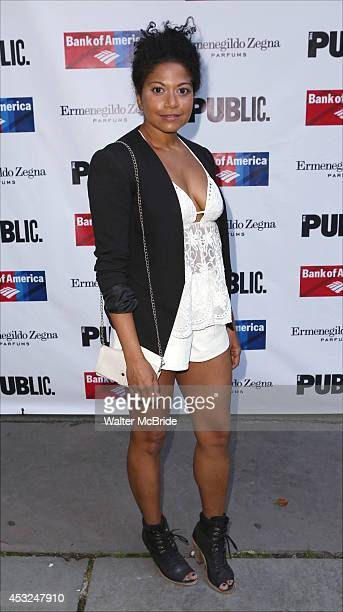 Rebecca Naomi Jones attends the The Public Theatre's Opening Night Performance of 'King Lear' at the Delacorte Theatre on August 5 2014 in New York...