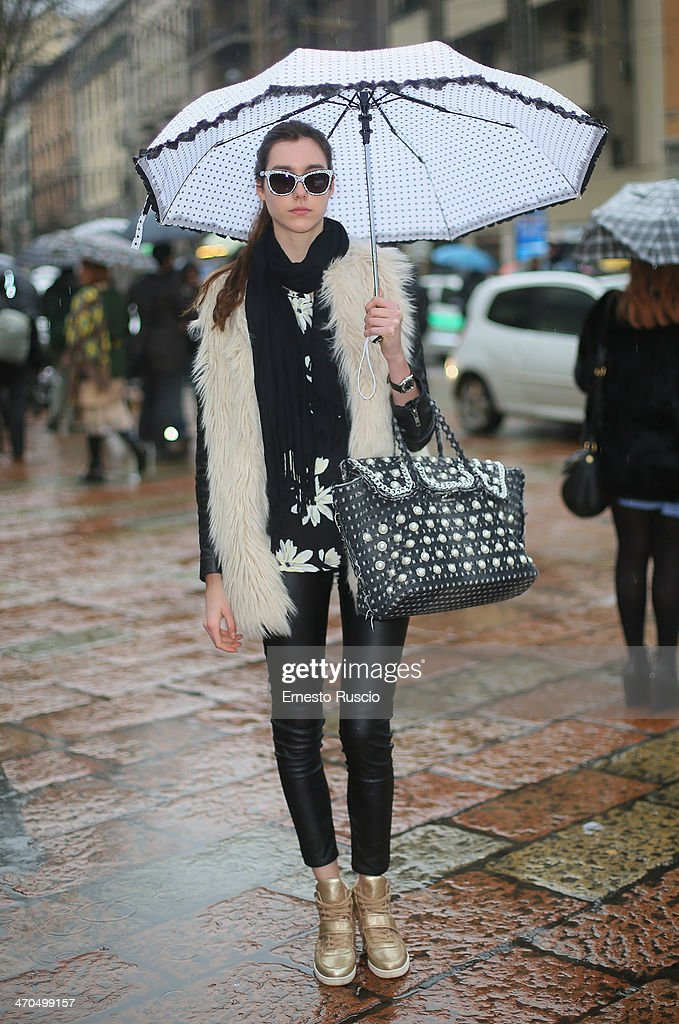 Rebecca Nocentini wears Mia Bag bag and H.A.S.H. shoes on day 1 of Milan Fashion Week Womenswear Autumn/Winter 2014 on February 19, 2014 in Milan, Italy.
