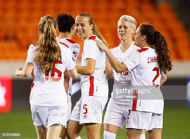 Rebecca Quinn of Canada celebrates with her teammates after scoring a second half goal against Guatemala during the 2016 CONCACAF Women's Olympic...