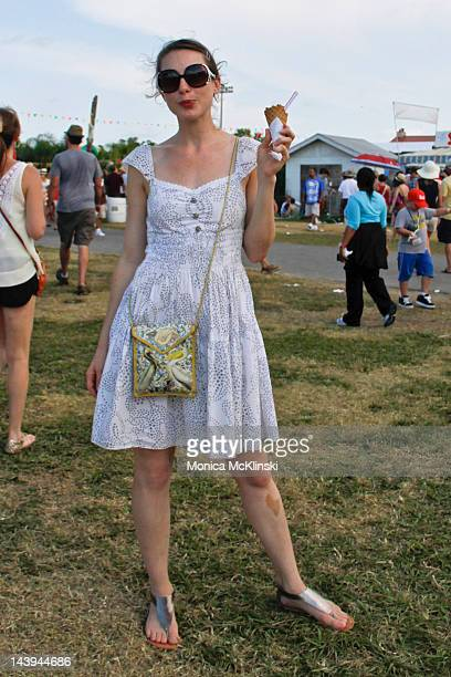 Rebecca Rebouche wearing a vintage dress PC Footware sandals and Blue Maya Designs by Nancy Alexander purse and sunglasses from Fifi Mahoney's seen...