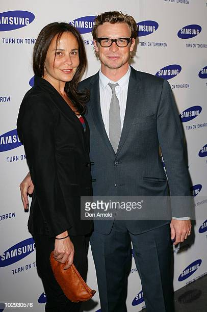 Rebecca Rigg and Simon Baker arrive at the Samsung 9 Objects of Desire Showcase at the Museum of Contemporary Art on July 16 2010 in Sydney Australia