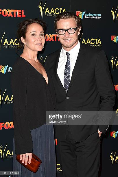 Rebecca Rigg and Simon Baker attend the 6th AACTA International Awards Arrivals at Avalon Hollywood on January 6 2017 in Los Angeles California