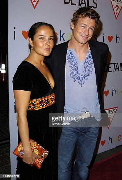 Rebecca Rigg and Simon Baker during 'I Heart Huckabees' Los Angeles Premiere Arrivals at The Grove in Hollywood California United States