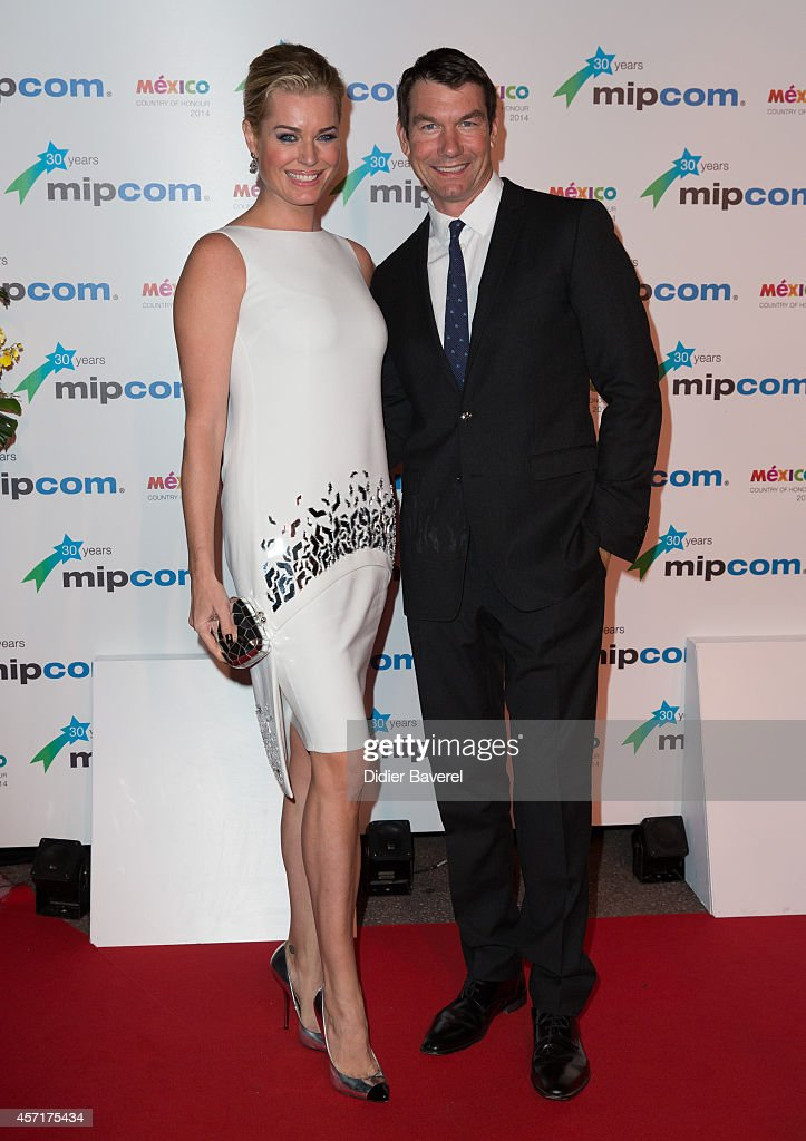 Rebecca Romijn and Jerry O'Connell attend the opening red carpet party MIPCOM 2014 at Hotel Martinez on October 13 2014 in Cannes France