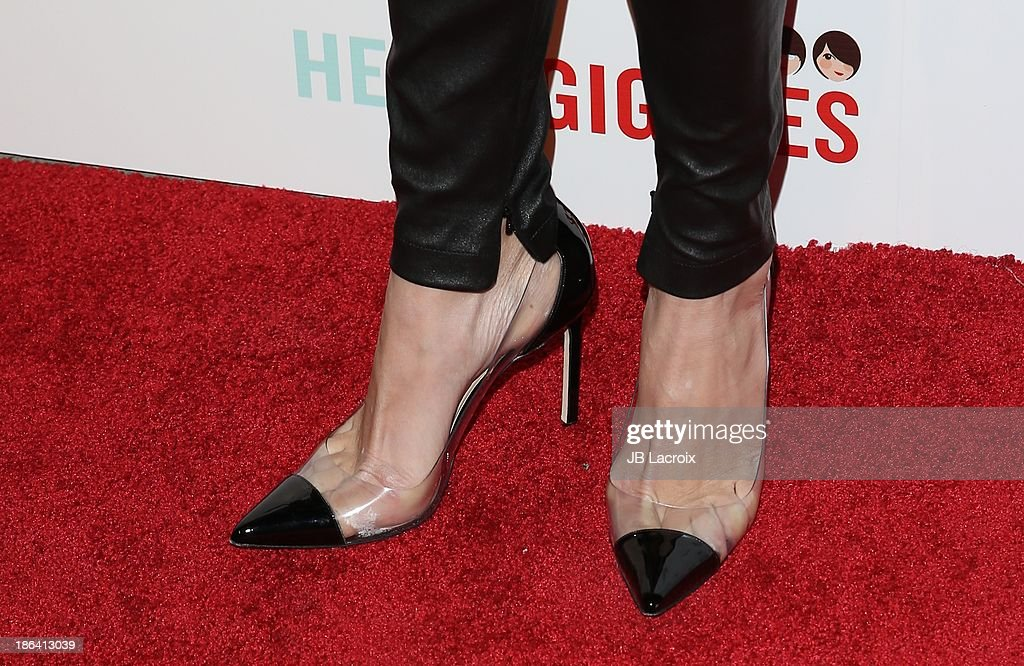 <a gi-track='captionPersonalityLinkClicked' href=/galleries/search?phrase=Rebecca+Romijn&family=editorial&specificpeople=202241 ng-click='$event.stopPropagation()'>Rebecca Romijn</a> (shoe detail) attends the 'Ass Backwards' Los Angeles Premiere at the Vista Theatre on October 30, 2013 in Los Angeles, California.