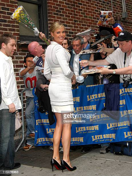 Rebecca Romijn during Rebecca Romijn Visits 'The Late Show With David Letterman' May 18 2006 at Ed Sullivan Theater in New York City New York United...