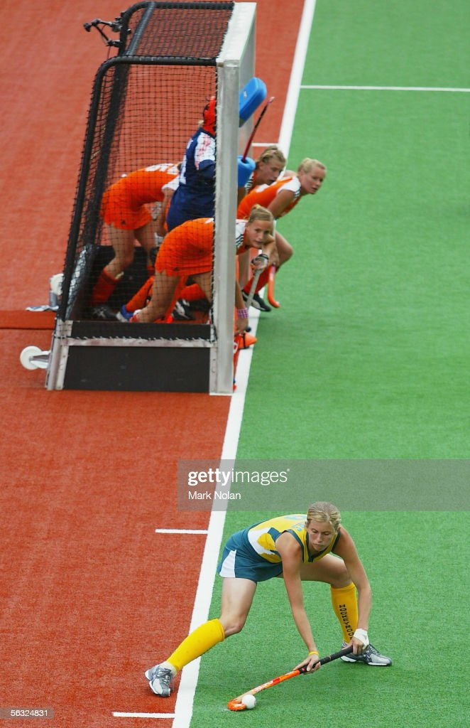Rebecca Sanders of Australia takes a penalty corner during the Women's Hockey Champions Trophy fifth round match between Australia and the...