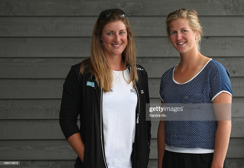 <a gi-track='captionPersonalityLinkClicked' href=/galleries/search?phrase=Rebecca+Scown&family=editorial&specificpeople=4165331 ng-click='$event.stopPropagation()'>Rebecca Scown</a> (L) and Kayla Pratt pose after being named in the Women's Coxless Pair for the New Zealand rowing squad for 2013, at Lake Karapiro on March 7, 2013 in Cambridge, New Zealand.