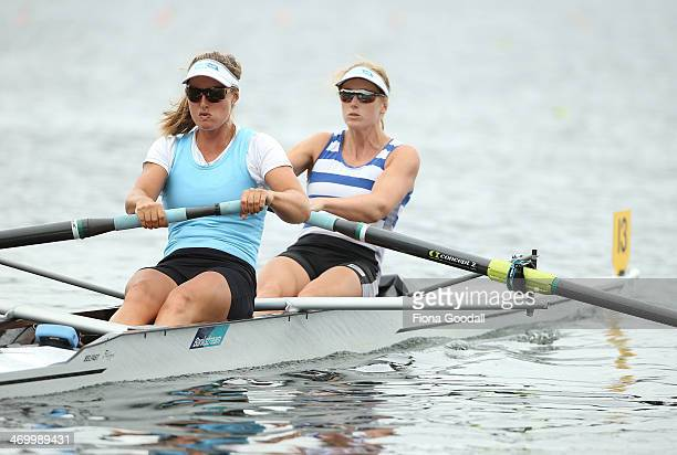 Rebecca Scown front and Louise Trappitt at the start of the Premier Women's coxless pairs race during the Bankstream New Zealand Rowing Championships...