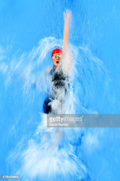 Rebecca Sherwin of Great Britain swims the first leg Women's 4x100m Medley Relay heats during day thirteen of the Baku 2015 European Games at the...