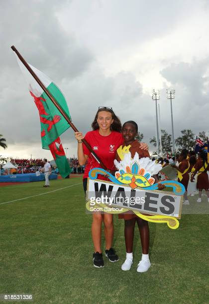 Rebecca Sutton flagbearer for Wales poses during the 2017 Youth Commonwealth Games Opening Ceremony on day 1 of the 2017 Youth Commonwealth Games at...