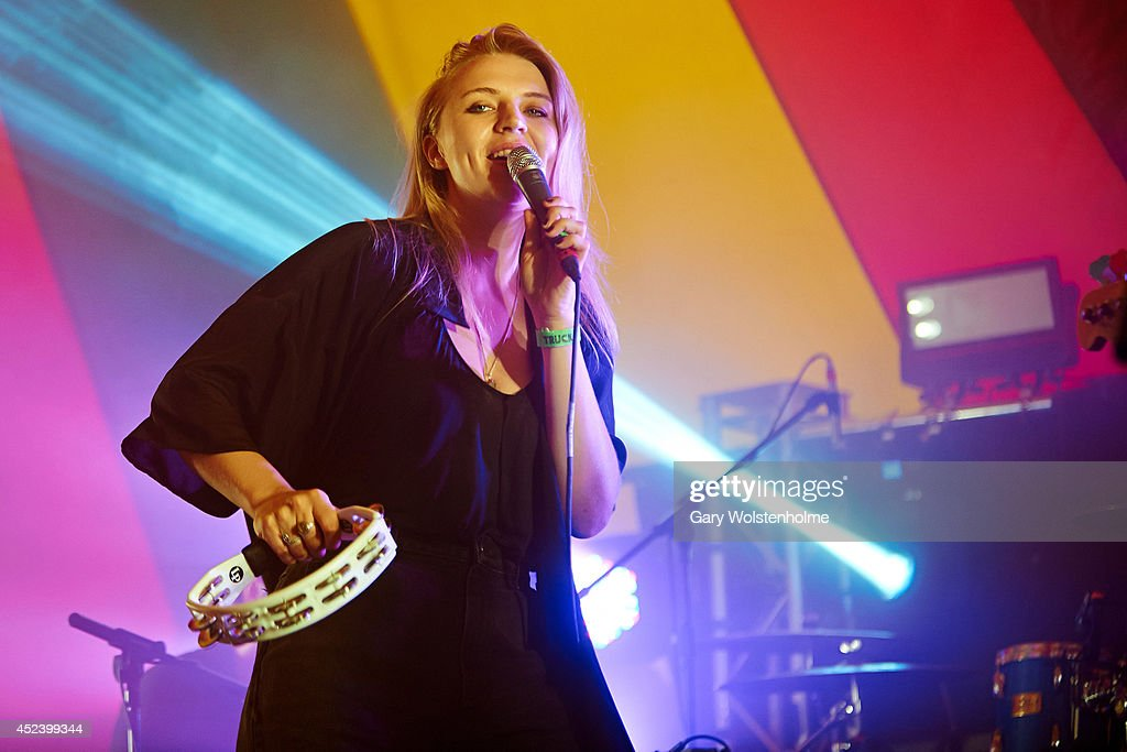 Rebecca Taylor of Slow Club performs on stage at Truck Festival at Hill Farm on July 19, 2014 in Steventon, United Kingdom.