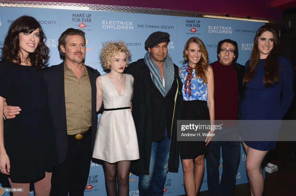 Rebecca Thomas, Bill Sage, Julia Garner, <a gi-track='captionPersonalityLinkClicked' href=/galleries/search?phrase=Billy+Zane&family=editorial&specificpeople=211418 ng-click='$event.stopPropagation()'>Billy Zane</a>, Cassidy Gard, Richard Neustadter, and Jessica Caldwell attend The Cinema Society & Make Up For Ever screening of 'Electrick Children' at IFC Center on March 4, 2013 in New York City.