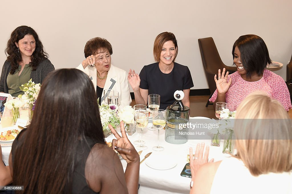 Rebecca Traister Nita Lowey Cindi Leive and Uzo Aduba attend a luncheon hosted by Glamour and Facebook to discuss the 2016 election at Samsung 837 in...