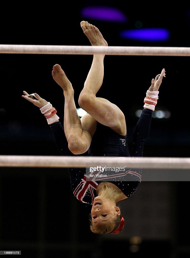 Rebecca Tunney of Great Britain in action on the parallel Bars during the 3rd day of the Men's Gymnastics Final at North Greenwich Arena on January 12, 2012 in London, England.