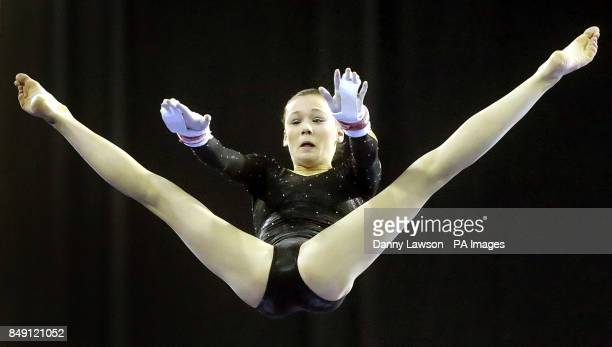 Rebecca Tunney on the WA Uneven Bars during the Glasgow World Cup at the Emirates Arena Glasgow
