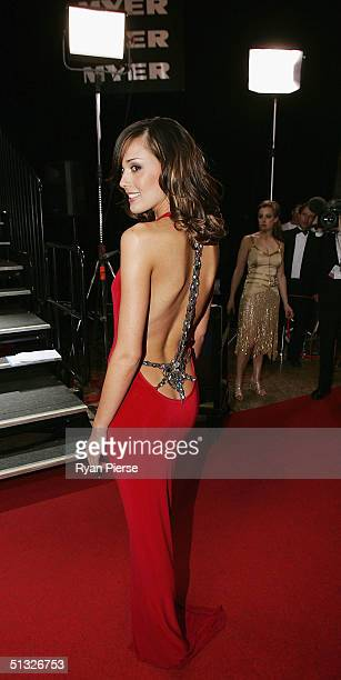 Rebecca Twigley partner of Chris Judd of the Eagles arrives for the Brownlow Medal Dinner at the Crown Casino on September 20 2004 in Melbourne...
