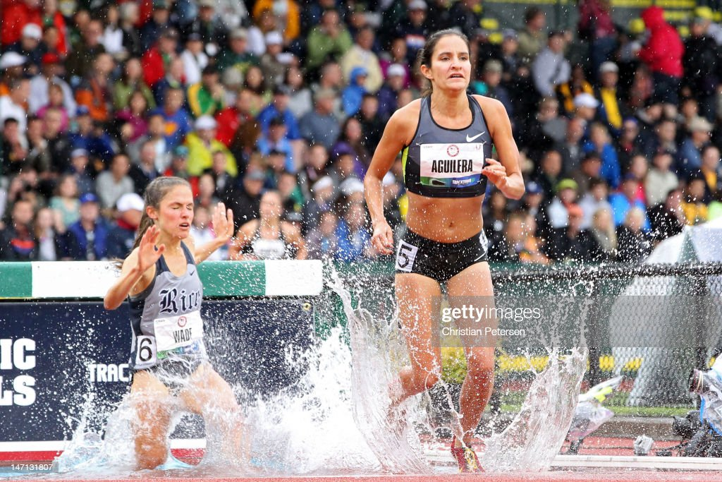Rebecca Wade and Lisa Aguilera compete in the women's 3000 meter steeplechase premil during Day Four of the 2012 U.S. Olympic Track & Field Team Trials at Hayward Field on June 25, 2012 in Eugene, Oregon.