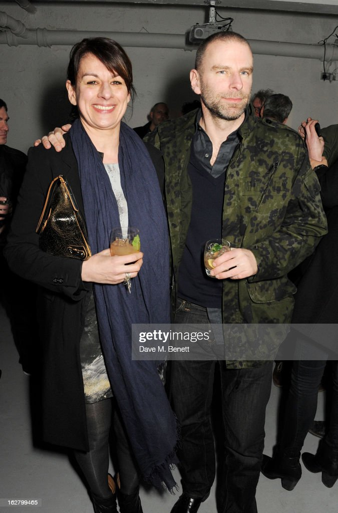 Rebecca Warren (L) and Damon Murray attend the launch of artist Dinos Chapman's first album 'Luftbobler' at The Vinyl Factory on February 27, 2013 in London, England.