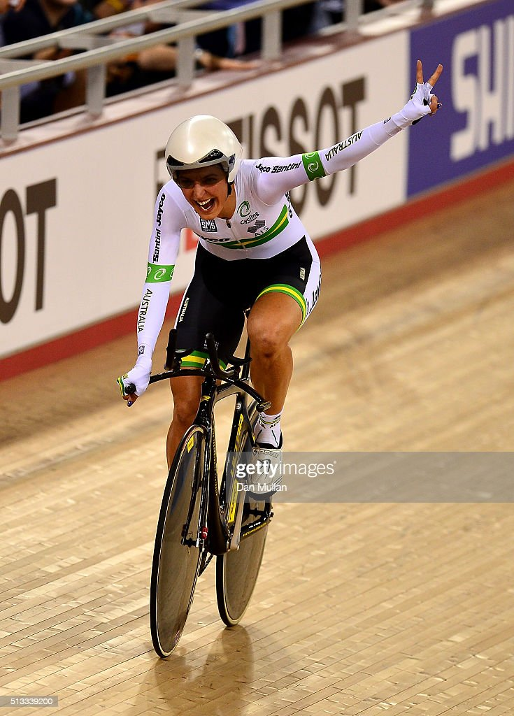 Rebecca Wiasak of Australia celebrates after winning the Womens Individual Pursuit final during the UCI Track Cycling World Championships at Lee Valley Velopark Velodrome on March 2, 2016 in London, England.