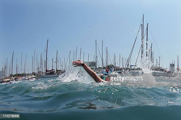 Rebecca Wilke Mann of USA in action during the Open Water Swimming Women's 10k race on day four of the 15th FINA World Championships at Moll de la...