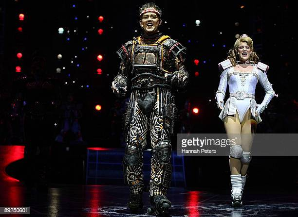 Rebecca Wright who plays the character 'Pearl' appears with Jamie Golding who plays the character 'Rusty' in 'Starlight Express' during the show's...